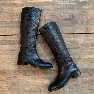 Prada Boots 36 6 Black Pebbled Leather